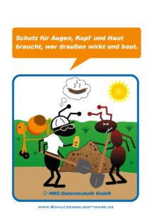 Arbeitsschutz-Comics mit Ameisen_HNC-Datentechnik Motiv Sonnenschutz