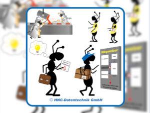 Arbeitsschutz-Comics mit Ameisen_HNC-Datentechnik Motiv Besuchermanagement